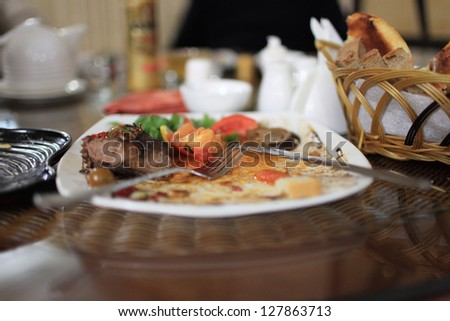 The leftovers after dinner in a restaurant - stock photo