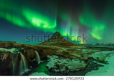 The Legendary night, Aurora KP9 at Kirkjufell, Iceland - stock photo