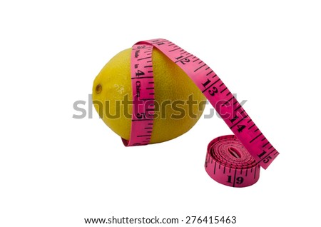 The lemon twisted with tape measure isolated on white background. A concept - a fruit diet and fight against excess weight. - stock photo