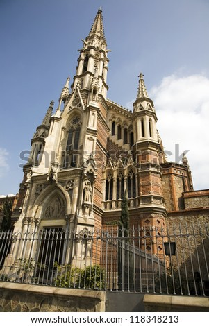 The Les Saleses church in Barcelona, Spain.  The church which was built in 1878�85 was designed by Joan Martorell i Montells who was Antoni Gaudi's architecture professor. - stock photo