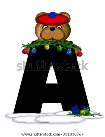 """The letter A, in the alphabet set """"Teddy Christmas Boughs,"""" is black and sits on pile of snow.  Teddy Bear wearing cap and mittens, decorates letter with Christmas boughs and ornaments. - stock photo"""