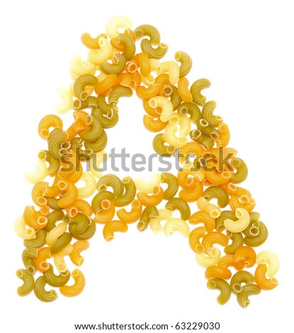 the letter A of pasta isolated on white - stock photo