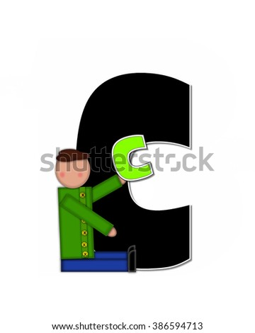 "The letter C, in the alphabet set ""Children Playing ABCs"" is black outlined with white.  Children hold up colorful, matching, alphabet letter. - stock photo"