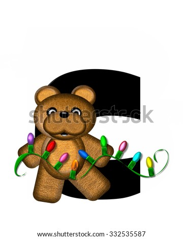 """The letter C, in the alphabet set """"Teddy Christmas Lights,"""" is black. Teddy Bear holds a string of Christmas lights and decorates letter. - stock photo"""