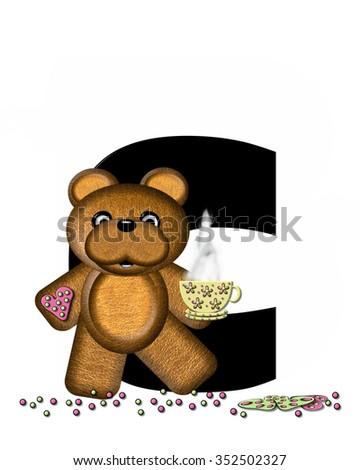 """The letter C, in the alphabet set """"Teddy Tea Time,"""" is black.  Teddy bear enjoys a cup of hot tea with heart shaped and frosted cookies.  Candy sprinkles cover floor. - stock photo"""