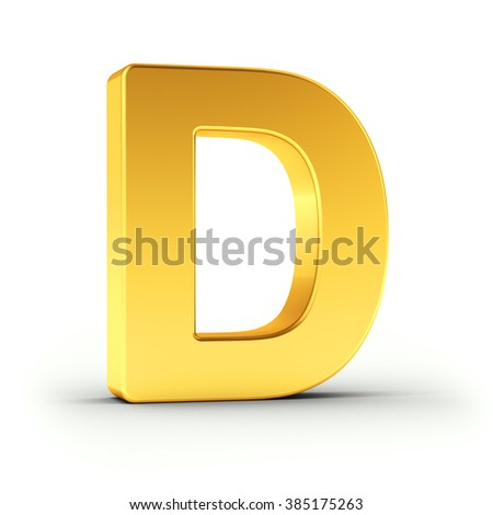 The Letter D as a polished golden object over white background with clipping path for quick and accurate isolation. - stock photo