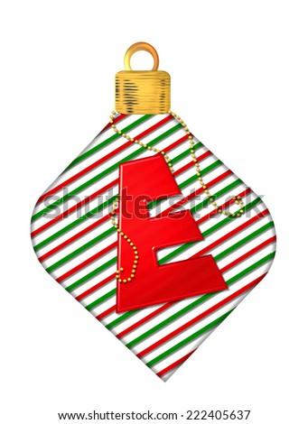 "The letter E, in the alphabet set ""Pinstripe Ornament"", is red.  Letter sits on red and green striped Christmas ornament. - stock photo"