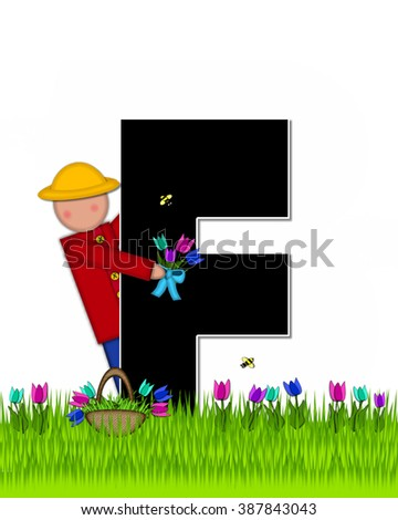 "The letter F, in the alphabet set ""Children Tulip Patch"" is black outlined with white.  Children hold tulip bouquet and stand in colorful tulip patch. - stock photo"