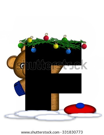 """The letter F, in the alphabet set """"Teddy Christmas Boughs,"""" is black and sits on pile of snow.  Teddy Bear wearing cap and mittens, decorates letter with Christmas boughs and ornaments. - stock photo"""