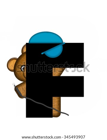 "The letter F, in the alphabet set ""Teddy Dental Checkup,"" is black.  Dental mask and hat represents tools of the trade for this teddy dentist holding electric drill. - stock photo"