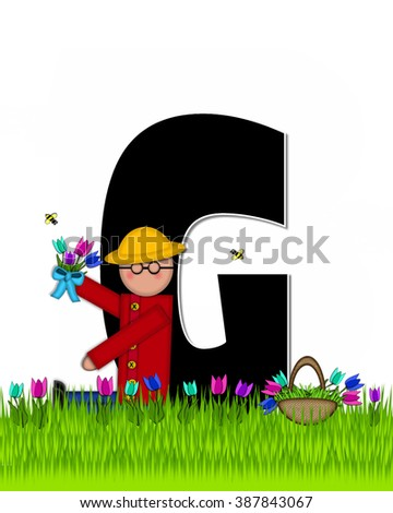 "The letter G, in the alphabet set ""Children Tulip Patch"" is black outlined with white.  Children hold tulip bouquet and stand in colorful tulip patch. - stock photo"
