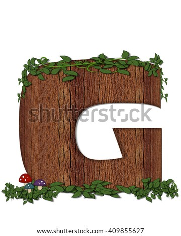 """The letter G, in the alphabet set """"Log"""" is filled with wood texture.  Vines and colorful mushrooms grow around letter.  Some letters have knot holes with peeking eyes. - stock photo"""