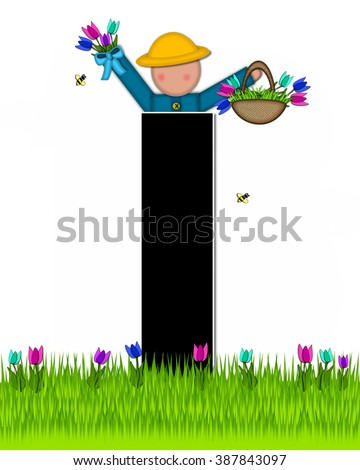 "The letter I, in the alphabet set ""Children Tulip Patch"" is black outlined with white.  Children hold tulip bouquet and stand in colorful tulip patch. - stock photo"