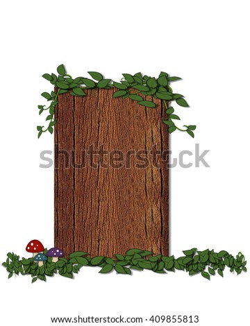 """The letter I, in the alphabet set """"Log"""" is filled with wood texture.  Vines and colorful mushrooms grow around letter.  Some letters have knot holes with peeking eyes. - stock photo"""