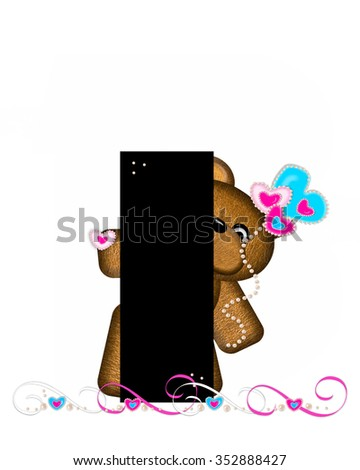 """The letter I, in the alphabet set """"Teddy Valentine's Cutie,"""" is black.  Brown teddy bear holds heart shaped balloons in pink and blue.  String of pearls serve as string. - stock photo"""