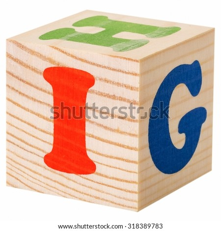 The letter I. wooden blocks with letters of the English alphabet isolated on a white background - stock photo