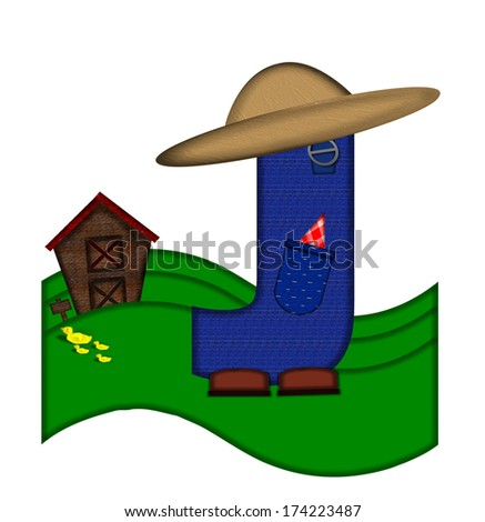 """The letter J, in the alphabet set """"Down on the Farm,"""" is dressed in denim overalls complete with pockets.  Letter sits on farm scene with rolling hills, barn, and ducks. - stock photo"""