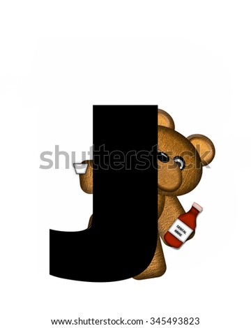 "The letter J, in the alphabet set ""Teddy Dental Checkup,"" is black.  Teddy bear represents dentist holding dental rinse. - stock photo"