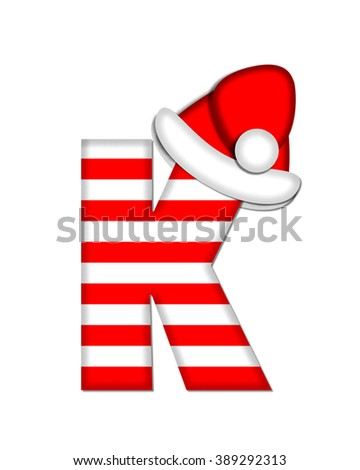 "The letter K, in the alphabet set ""Christmas Candy Cane,"" is red and white striped.  Letter is decorated with floppy Santa cap. - stock photo"