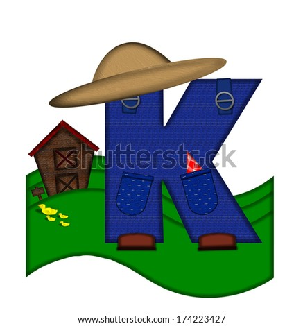 """The letter K, in the alphabet set """"Down on the Farm,"""" is dressed in denim overalls complete with pockets.  Letter sits on farm scene with rolling hills, barn, and ducks. - stock photo"""