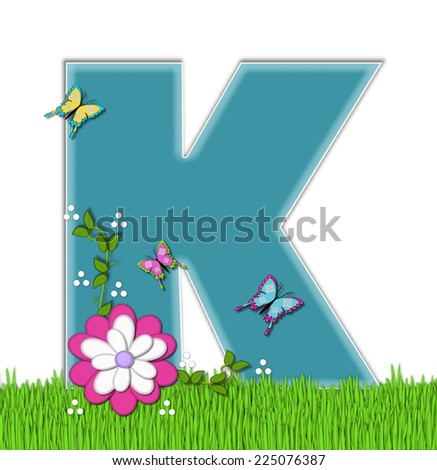 "The letter K, in the alphabet set ""Happy Springtime"", is turquoise.  Letter is sitting on bright green grass and is decorated with flower and vines.  Butterflies flutter around letter. - stock photo"