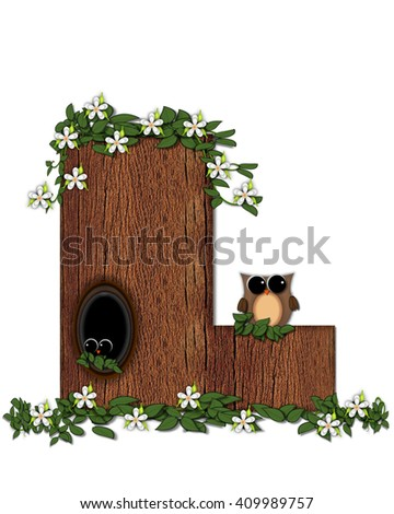 "The letter L, in the alphabet set ""Log Home"" is filled with wood texture.  Flower bloom on vines hanging on letter.  One owl hides in knothole and the other outside the stump home.  - stock photo"
