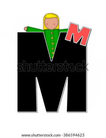 "The letter M, in the alphabet set ""Children Playing ABCs"" is black outlined with white.  Children hold up colorful, matching, alphabet letter. - stock photo"
