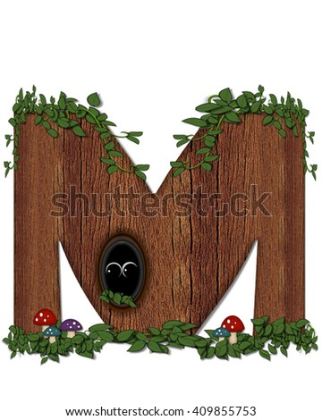 """The letter M, in the alphabet set """"Log"""" is filled with wood texture.  Vines and colorful mushrooms grow around letter.  Some letters have knot holes with peeking eyes. - stock photo"""