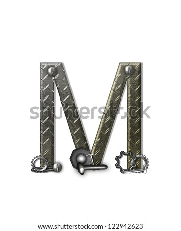 """The letter M, in the alphabet set """"Metal Shop"""", is a chrome colored letter with etched texture.  Letter is decorated with nuts, bolts and screws.  Top of letter has rivets. - stock photo"""