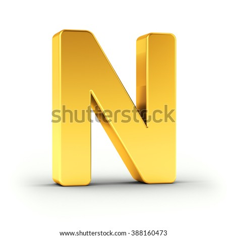 The Letter N as a polished golden object over white background with clipping path for quick and accurate isolation. - stock photo
