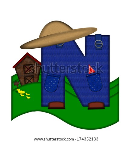 """The letter N, in the alphabet set """"Down on the Farm,"""" is dressed in denim overalls complete with pockets.  Letter sits on farm scene with rolling hills, barn, and ducks. - stock photo"""