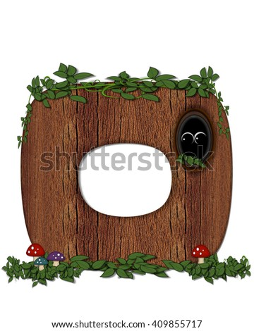"""The letter O, in the alphabet set """"Log"""" is filled with wood texture.  Vines and colorful mushrooms grow around letter.  Some letters have knot holes with peeking eyes. - stock photo"""