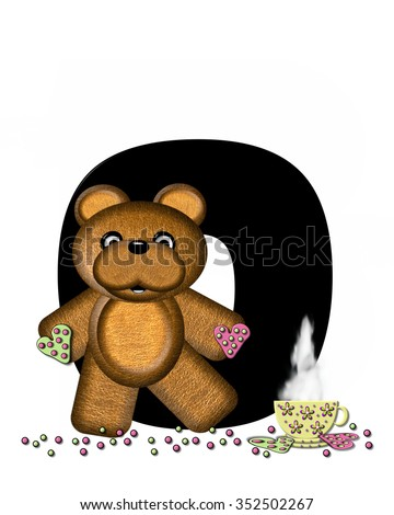 """The letter O, in the alphabet set """"Teddy Tea Time,"""" is black.  Teddy bear enjoys a cup of hot tea with heart shaped and frosted cookies.  Candy sprinkles cover floor. - stock photo"""