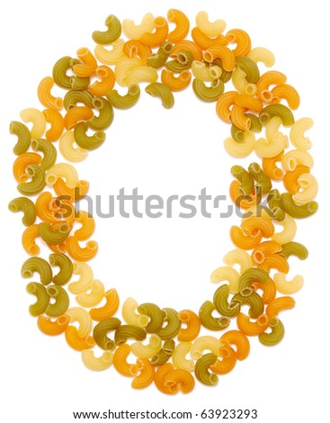 the letter O of pasta isolated on white - stock photo