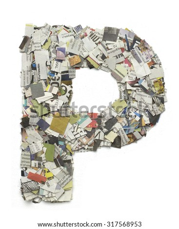 The letter P  made from newspaper confetti - stock photo