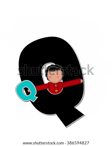 "The letter Q, in the alphabet set ""Children Playing ABCs"" is black outlined with white.  Children hold up colorful, matching, alphabet letter. - stock photo"