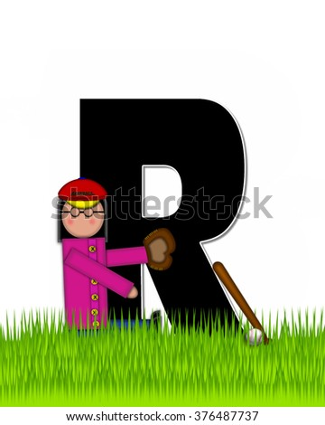 """The letter R, in the alphabet set """"Children Baseball"""" is black and trimmed with white.  Child is playing baseball in a field of green grass.  Equipment includes bat, ball and glove. - stock photo"""