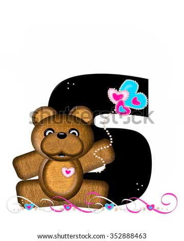 """The letter S, in the alphabet set """"Teddy Valentine's Cutie,"""" is black.  Brown teddy bear holds heart shaped balloons in pink and blue.  String of pearls serve as string. - stock photo"""