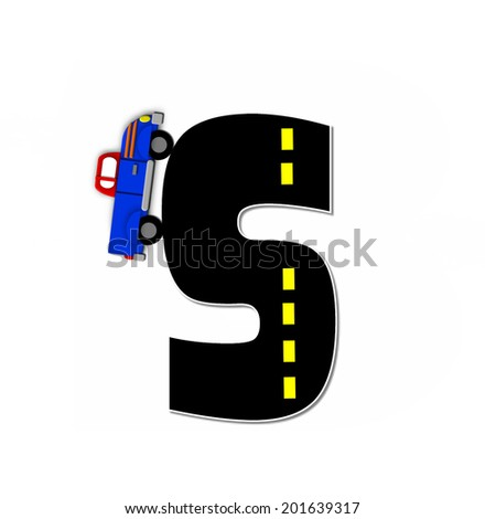 "The letter S, in the alphabet set ""Transportation by Road"", is black with yellow dividing line representing a black top road.  Colorful, motorized vehicle navigates outside of letter. - stock photo"