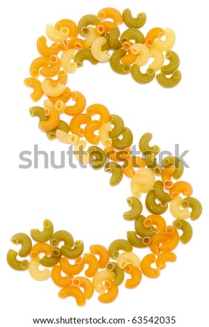 the letter S of pasta isolated on white - stock photo