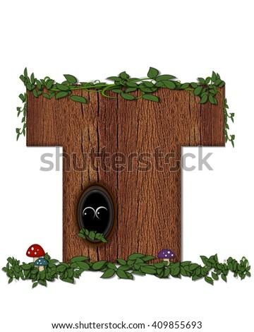 """The letter T, in the alphabet set """"Log"""" is filled with wood texture.  Vines and colorful mushrooms grow around letter.  Some letters have knot holes with peeking eyes. - stock photo"""