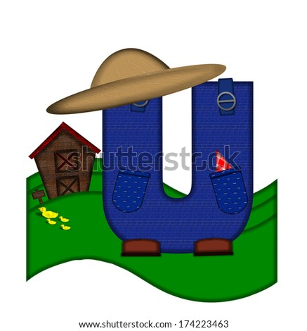 """The letter U, in the alphabet set """"Down on the Farm,"""" is dressed in denim overalls complete with pockets.  Letter sits on farm scene with rolling hills, barn, and ducks. - stock photo"""
