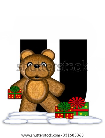 """The letter U, in the alphabet set """"Teddy Christmas,"""" is black and sits on pile of snow.  Teddy Bear and presents decorate each letter. - stock photo"""