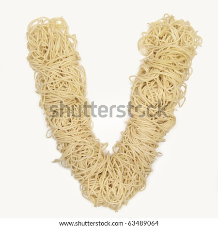 The letter V in spaghetti - stock photo