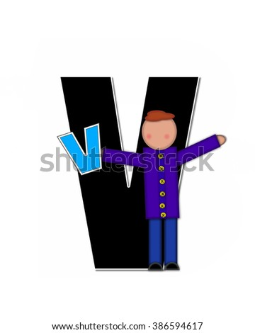 "The letter V, in the alphabet set ""Children Playing ABCs"" is black outlined with white.  Children hold up colorful, matching, alphabet letter. - stock photo"