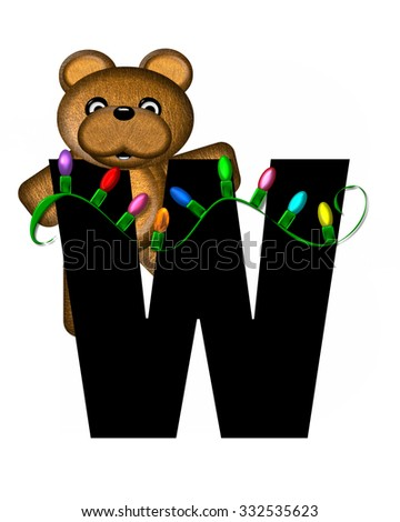 """The letter W, in the alphabet set """"Teddy Christmas Lights,"""" is black. Teddy Bear holds a string of Christmas lights and decorates letter. - stock photo"""