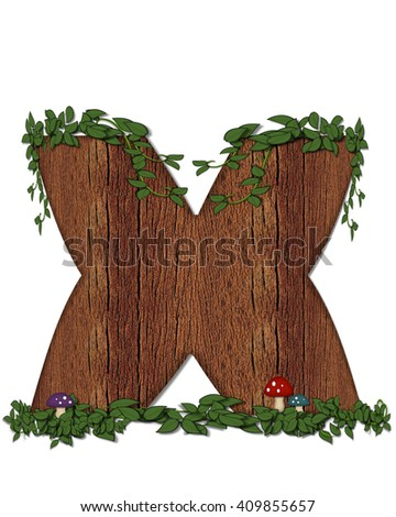 """The letter X, in the alphabet set """"Log"""" is filled with wood texture.  Vines and colorful mushrooms grow around letter.  Some letters have knot holes with peeking eyes. - stock photo"""