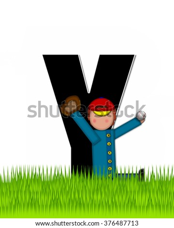 """The letter Y, in the alphabet set """"Children Baseball"""" is black and trimmed with white.  Child is playing baseball in a field of green grass.  Equipment includes bat, ball and glove. - stock photo"""