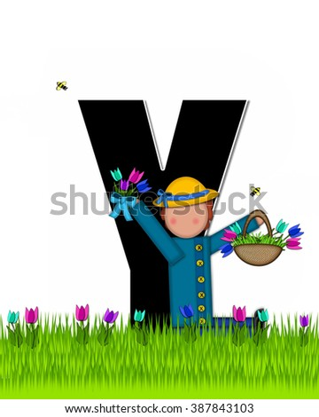 "The letter Y, in the alphabet set ""Children Tulip Patch"" is black outlined with white.  Children hold tulip bouquet and stand in colorful tulip patch. - stock photo"