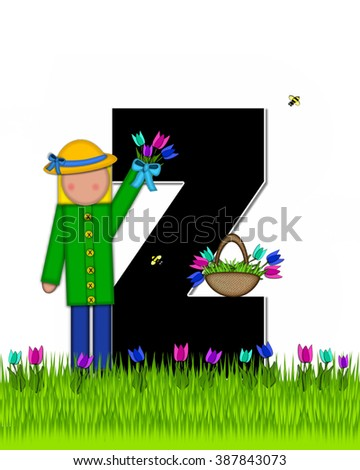 "The letter Z, in the alphabet set ""Children Tulip Patch"" is black outlined with white.  Children hold tulip bouquet and stand in colorful tulip patch. - stock photo"